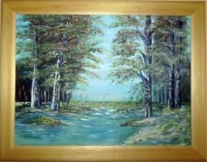 Nyírfák a patak mellett