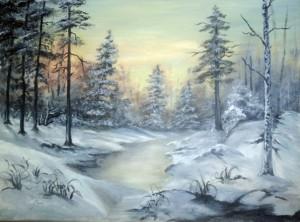 Téli erdő fákkal