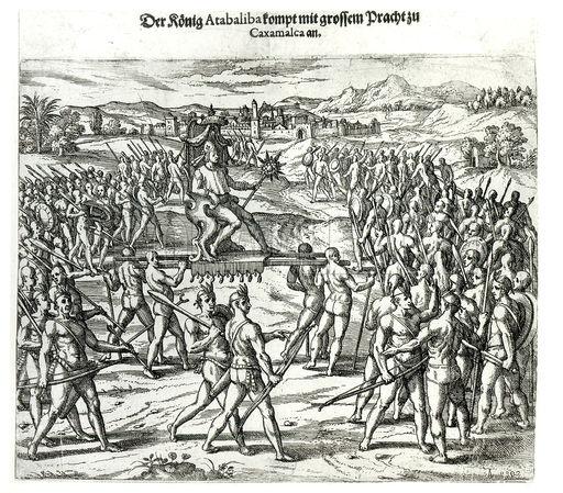 King Atahualpa arriving in Caxamalca to see Francisco Pizarro