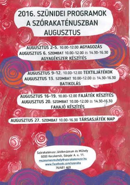 programok augusztus