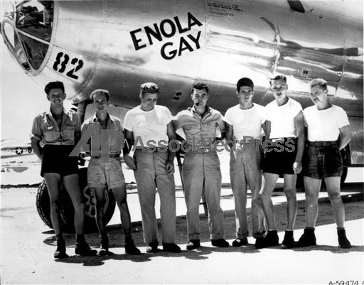 "**FILE**In this undated handout picture from the U.S.Army Air Force, the ground crew of the Enola Gay B29 bomber which bombed Hiroshima, Japan on Aug. 6, 1945 with the ""Little Boy"" atomic bomb, stands with pilot Col. Paul W. Tibbets, center, in the Marianas Islands. Tibbets died Thursday, Nov.1, 2007, at his Columbus, Ohio, home. He was 92. (AP Photo/U.S. Army Air Force)"