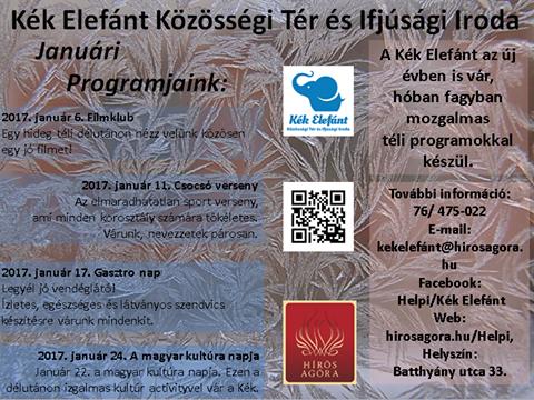 Kék Elefánt Közösségi Tér januári programajánlója