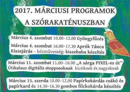 Szórakaténusz Játékmúzeum és Műhely programok márciusban