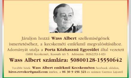 Állítsunk emlékművet Wass Albertnek Kecskeméten is!