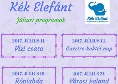 Kék Elefánt Ifjúsági Közösségi Tér – Július