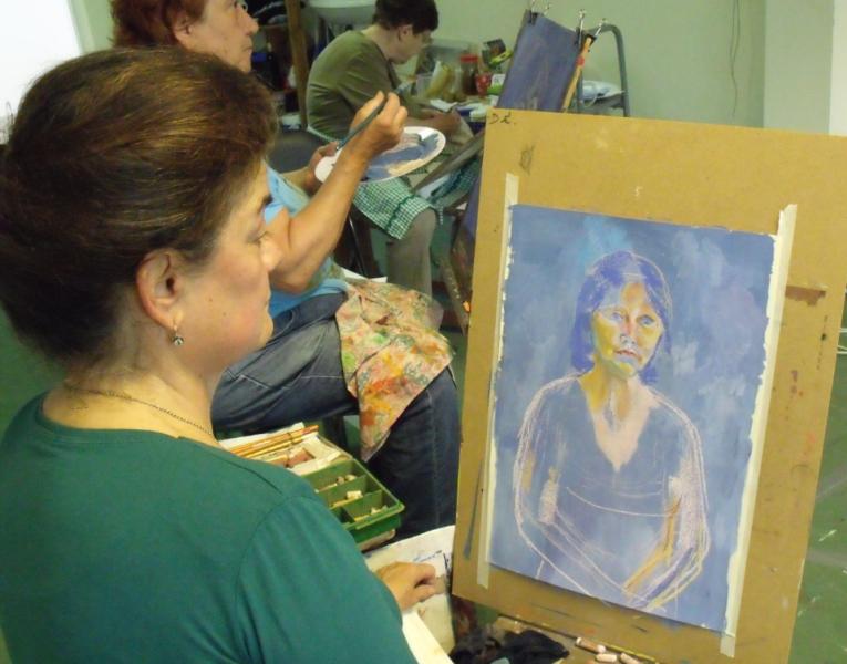 Takácsné Sárossy Mária és a Vándor Tavasz című festménye