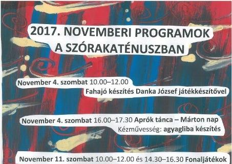 Szórakaténusz Játékmúzeum és Műhely programok novemberben