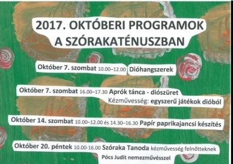 2017. októberi programok a Szórakaténuszban