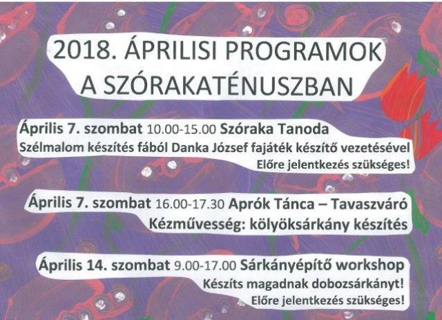 Áprilisi programok a Szórakaténusz Játékmúzeumban