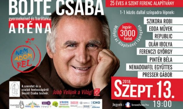 Jobb veled a világ! Jótékonysági koncertsorozat Böjte Csaba alapítványa számára