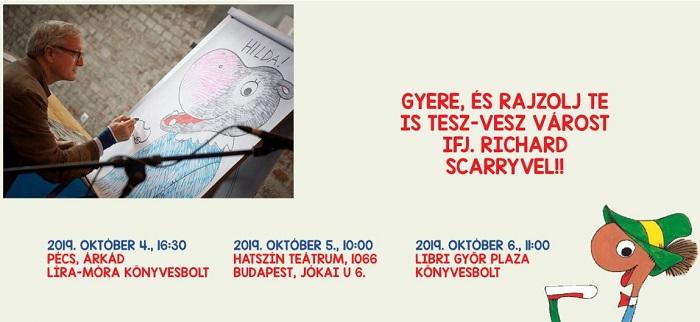 """Tesz-Vesz város évszázada –Richard """"Huck"""" Scarry októberben magyar gyerekekkel rajzol"""