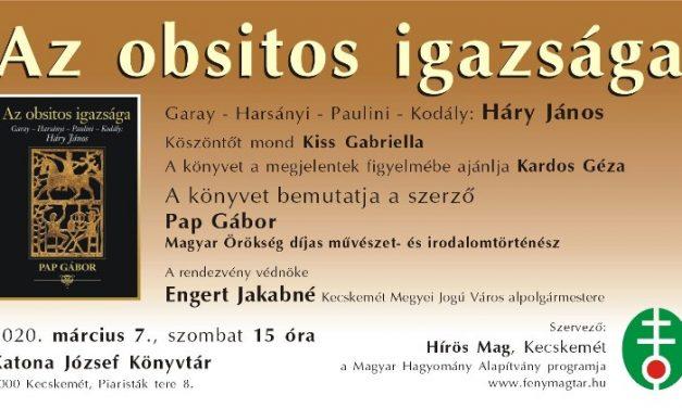 Pap Gábor: Az obsitos igazsága – Könyvbemutató