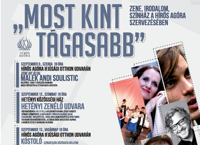 MOST KINT TÁGASABB – Zene, irodalom, színház