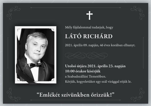 Végső búcsú Látó Richárdtól április 23-án